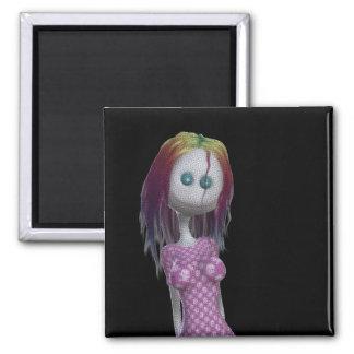 Rainbow Hair 3D Bonga Doll Halftone - Goth/Punk Square Magnet