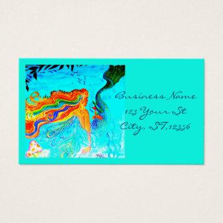 rainbow haired mermaid blue business card