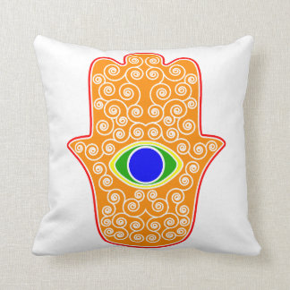 Rainbow Hamsa-Hand of Miriam-Hand of Fatima.png Cushion