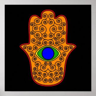 Rainbow Hamsa-Hand of Miriam-Hand of Fatima png Print