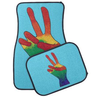 Rainbow Hand Peace Sign Custom Car Mats