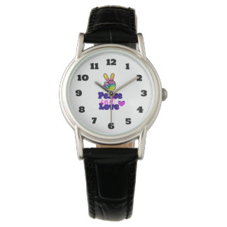 Rainbow Hand Peace Sign Peace and Love Typography Watch