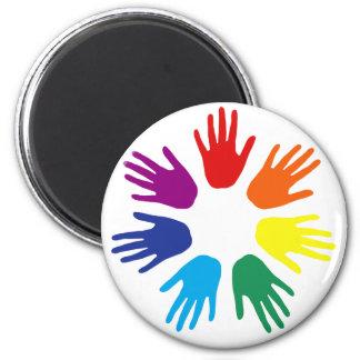 Rainbow hands 6 cm round magnet