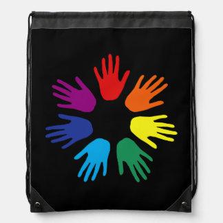 Rainbow hands drawstring bag