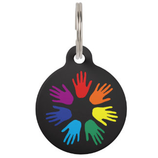 Rainbow hands pet ID tag