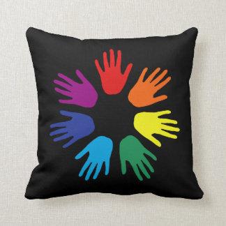 Rainbow hands throw pillow