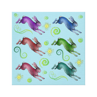 Rainbow Hares Canvas Print
