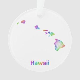 Rainbow Hawaii map Ornament