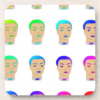 rainbow heads drink coasters
