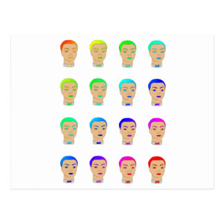 rainbow heads postcard
