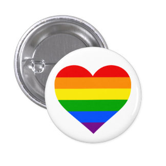 """RAINBOW HEART"" 1.25-inch 3 Cm Round Badge"