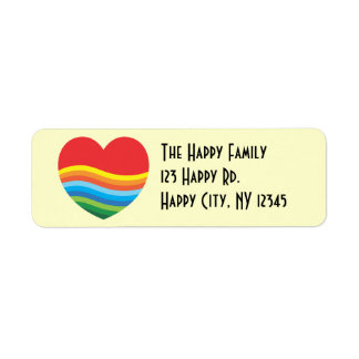 Rainbow Heart Address Labels Valentine's Day Cards