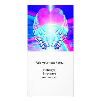 Rainbow Heart and Angel Wings Customised Photo Card