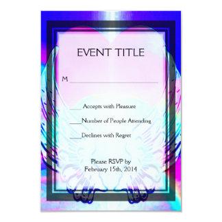 Rainbow Heart and Angel Wings 9 Cm X 13 Cm Invitation Card