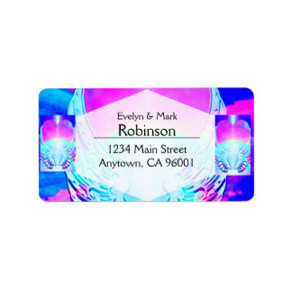 Rainbow Heart and Angel Wings Label