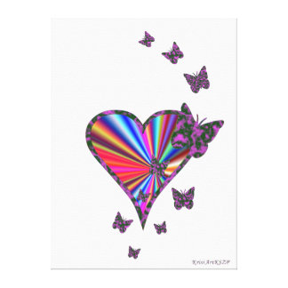 Rainbow Heart and Butterfly Canvas Print