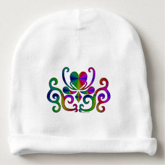Rainbow Heart and Lily Baby Beanie