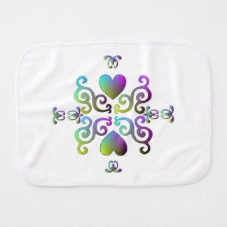 Rainbow Heart and Lily Burp Cloth
