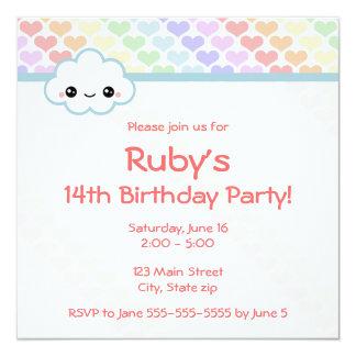 Rainbow Heart Birthday 13 Cm X 13 Cm Square Invitation Card