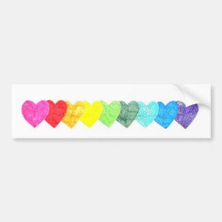 Rainbow Heart Bumper Sticker (non-faded)