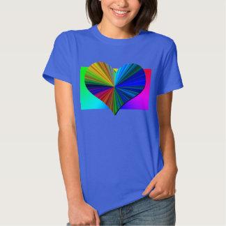 Rainbow Heart Burst (blue) Tee Shirts