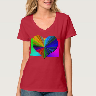 Rainbow Heart Burst (deep red) T-Shirt