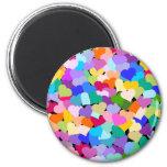 Rainbow Heart Confetti 6 Cm Round Magnet