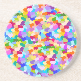 Rainbow Heart Confetti Coaster