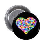 Rainbow Heart Confetti Pinback Button