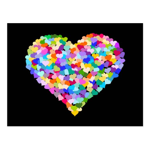 Rainbow Heart Confetti Post Cards