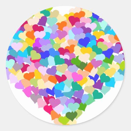 Rainbow Heart Confetti Round Stickers