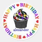 Rainbow Heart Cupcake Birthday Classic Round Sticker