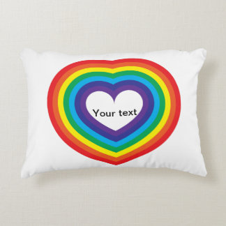 Rainbow heart decorative cushion
