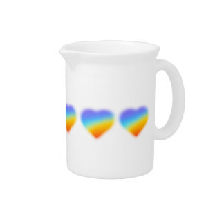 rainbow heart design for pitcher jug