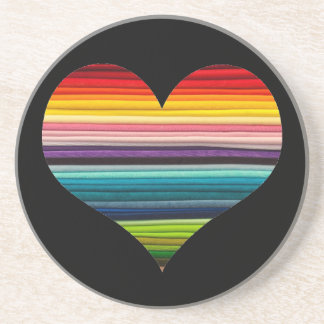 Rainbow Heart Design Multicolor Stripes Coaster