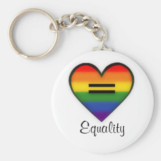 Rainbow heart equality keychain