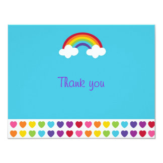Rainbow Heart Flat Thank You Note Cards 11 Cm X 14 Cm Invitation Card