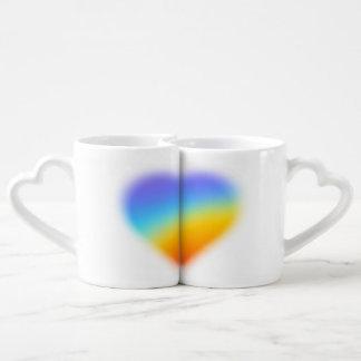 rainbow heart for couples mug
