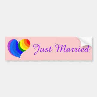 Rainbow Heart Gay Just Married Bumper Sticker