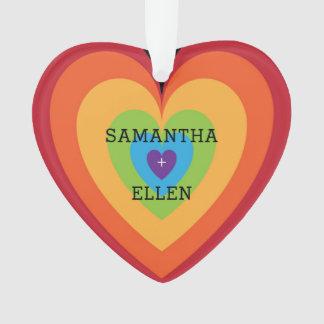 Rainbow Heart Gay Wedding Keepsake Ornament