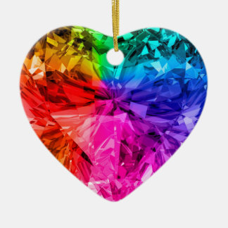 Rainbow Heart Gem Christmas Ornament