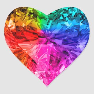 Rainbow Heart Gem Heart Sticker