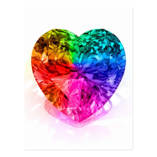 Rainbow Heart Gem Postcard