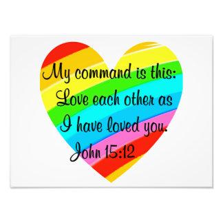RAINBOW HEART JOHN 15:12 DESIGN PHOTO PRINT