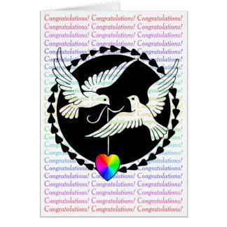 Rainbow Heart Love Doves Congratulations Card