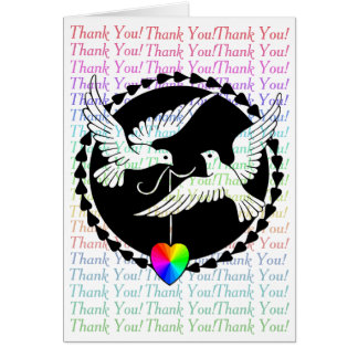Rainbow Heart Love Doves Gay Brides Thank You Card