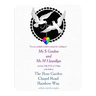 Rainbow Heart Love Doves Lesbian Wedding 4.25x5.5 Paper Invitation Card