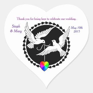 Rainbow Heart Love Doves Lesbian Wedding Sticker