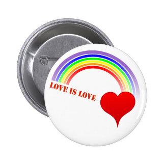 """Rainbow Heart """"Love Is Love"""" Button 2 Inch Round Button"""