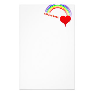 """Rainbow Heart """"Love Is Love"""" Red Lettering Stationery"""